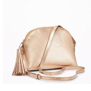 Metallic Gold Half-Moon Tasseled Bag
